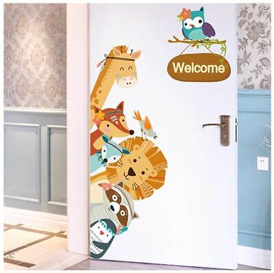 Animal door wardrobe sticker kids baby bedroom wall decal DIY cartoon decoration