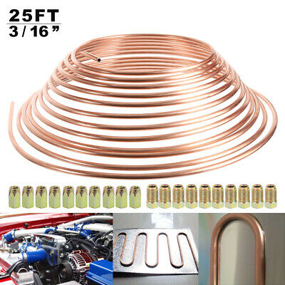 "25ft 3/16"" Copper Brake Pipe Kit with 10mm Fittings 20 x Male+Female Nuts Unions"