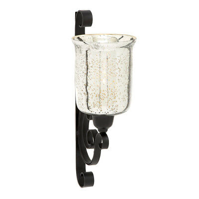 Antiqued Luminous Glass Metal Candle Wall Sconce