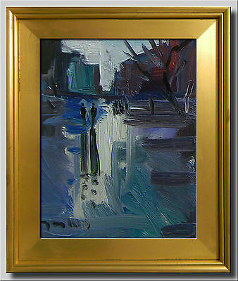 Jose Trujillo Framed Original Canvas Oil Painting Expressionist City Buildings