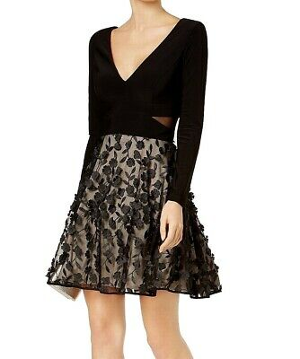 4f4bf295 Xscape NEW Black Women Size 6 Illusion-Inset Floral Lace Sheath Dress $209  #286