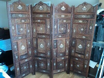 Hand carved vintage wood screen from India inlaid with bone and brass wire circa