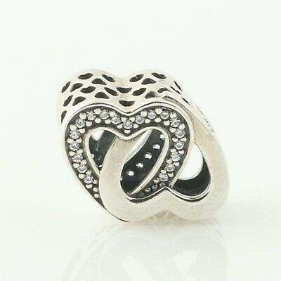 d7701b1b8 NEW Authentic Pandora Entwined Love Charm - Sterling Hearts Clear 791880CZ  Retd