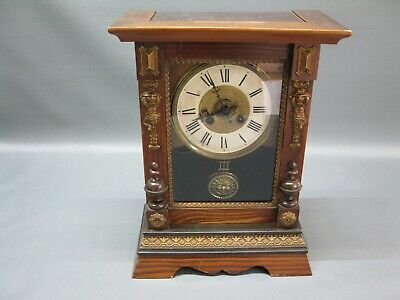 Antique Grandfather Clock Mantel Art Nouveau FMS with Sonnenpendel Wood Table
