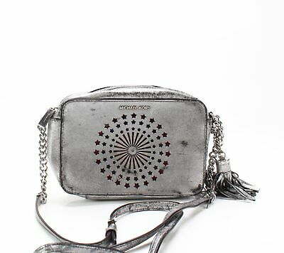 cbdc9cbefe3f Michael Kors Silver Ginny Medium Crackle Leather Light-Up Camera Bag  248-   023