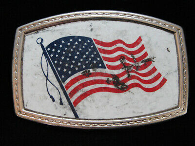 NH13119 VINTAGE 1970s **FLAG OF THE UNITED STATES OF AMERICA** PATRIOTIC BUCKLE