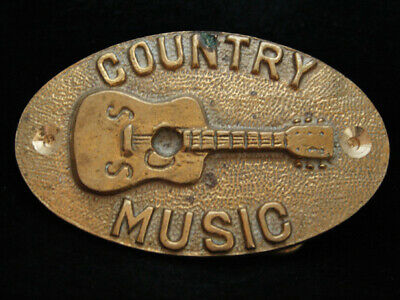 NI01161 VINTAGE 1970s **COUNTRY MUSIC** (GUITAR) SOLID BRASS BARON BELT BUCKLE