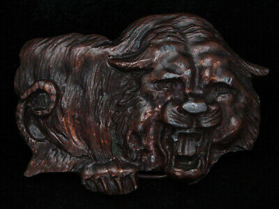 PE13101 VINTAGE 1970s CUT-OUT **ROARING TIGER** BRASSTONE BELT BUCKLE