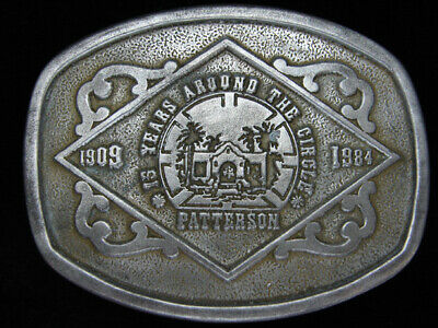 Pi11101 Vintage 1984 **Patterson 75 Years Around The Circle** Pewter Belt Buckle