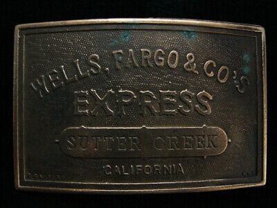 NH01119 VINTAGE 1970s **WELLS, FARGO & CO'S EXPRESS** SOLID BRASS BELT BUCKLE