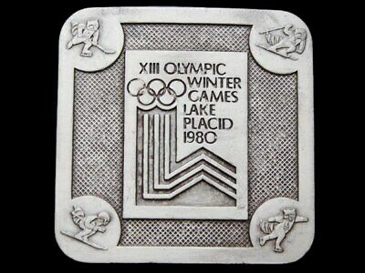 Ih11127 Vintage 1980 ***Xiii Olympic Winter Games*** Lake Placid Pewter Buckle