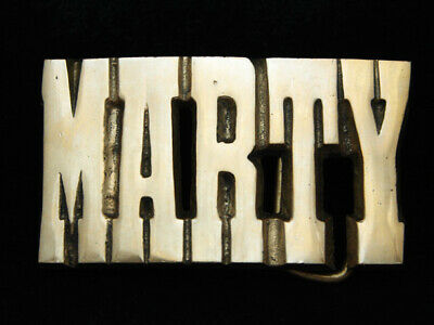 PD17173 *NOS* VINTAGE 1970s CUT-OUT NAME **MARTY** SOLID BRASS BARON BELT BUCKLE