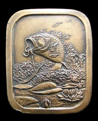 Ji08102 Great 1976 Vintage Imc **Hooked Large Mouth Bass** Fish Brasstone Buckle