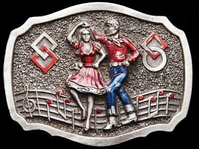 Ig27162 *Nos* Great Vintage 1984 **Square Dancing Couple** Pewter Buckle