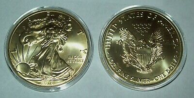2016 24K Gold Gilded American Silver Eagle 1 Troy Oz. .999 Fine One Dollar Coin