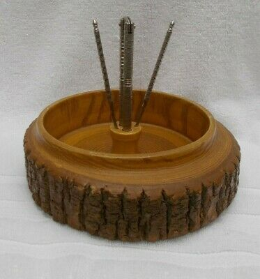 WOOD BARK NUT DISH with CRACKER & 2 PICKS - Vintage - Large 8 inches
