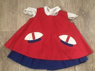Vintage Girls Pinafore Baby Dress Toddler Novelty Mushroom Red Blue Rare 18 Mon