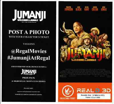 """Jumanji """"Welcome to the Jungle"""" Regal IMAX Collectible Ticket Movie Game Tickets"""