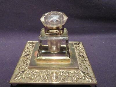 Inkwell Beautiful Heavy Glass on Ornate Brass Stand Lovely Vintage Piece