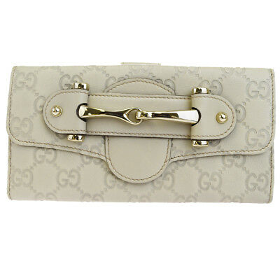 812f876a0f68 Authentic GUCCI GG Pattern Long Bifold Wallet Purse Leather Ivory Italy  04EM168