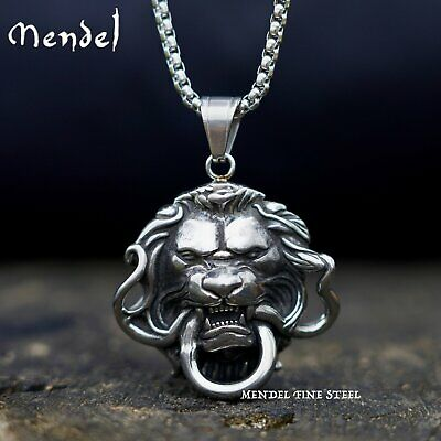 MENDEL Mens Snake Lion Necklace Pendant Head Stainless Steel King Chain Silver