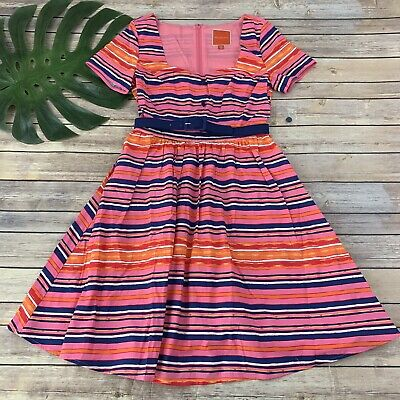7e5497a1155f6 Modcloth Cycling in Seville Fit and Flare Dress Size S New Pink Stripes  Pockets