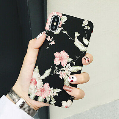 Retro Traditional Flower Hard Slim Skin Case Cover for iPhone XS Max XR 8 Plus 6