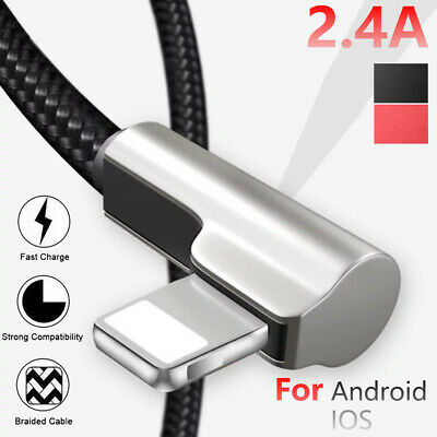 2.4A Elbow Micro USB Charger Data Sync Charge Cable For iPhone 7 8 X Samsung