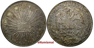 Mexico FIRST REPUBLIC Silver 1875 Mo BH 8 Reales aUNC Mexico City KM# 377.10