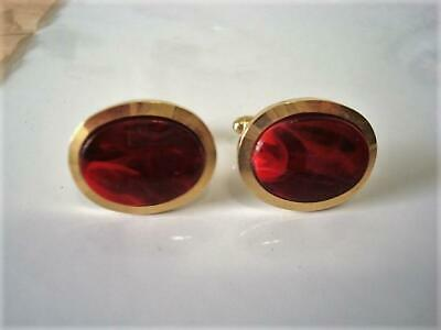 c00ea83c1cb9 Vintage Anson Gold Tone and Marbled Red Lucite Or Other Plastic Cuff Links