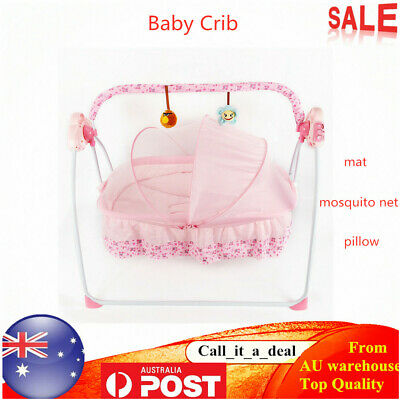 Electric Baby Auto-Swing Bed Crib Cots Cradle Infant Music Rocker Sleep Bed AU