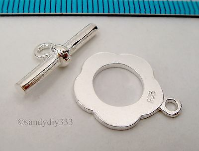 1x STERLING SILVER BRIGHT FLOWER TOGGLE CLASP 13.7mm #256
