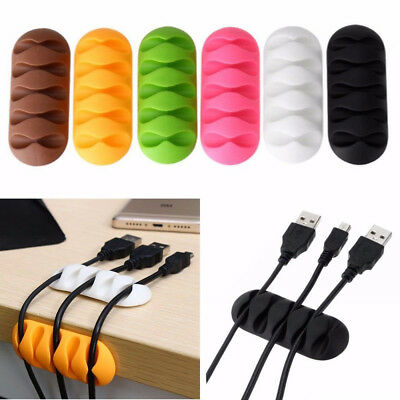 1X Desktop Cable Clip Holder Adhesive Clamp Wire Fixer Organizer Cord Management