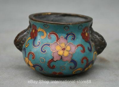 "3.4"" Old Chinese Cloisonne Dynasty Palace Lion Ear Incense Burners Censer"