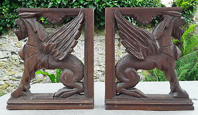 Antique French Paire Of Hand Carved Wood Gargoyles Chimera Dragon Gothic Griffin