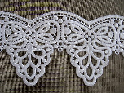 9 1/2 Yds Heavy Scalloped White Victorian Medallion Rayon Venise Lace Edge
