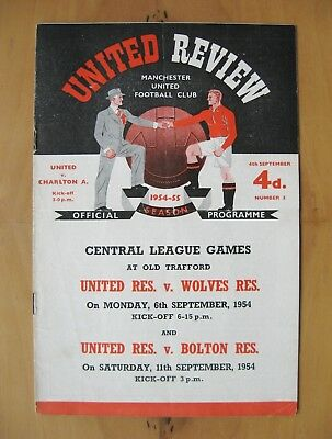 MANCHESTER UNITED v CHARLTON ATHLETIC 1954/1955 VG Condition Football Programme