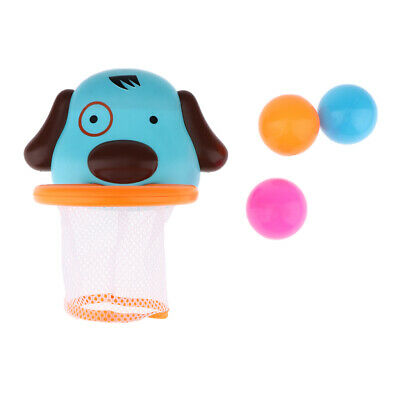 Cartoon Dog Shaped Bath Toy Basketball Hoop & Balls Set for Boys and Girls