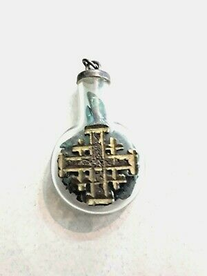 ANTIQUE Glass bottle pendant filled with stones of Eilat.
