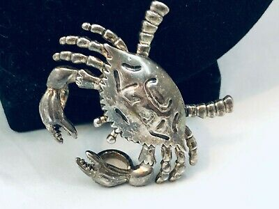 Vtg. Rare Marked Mj Pewter/silver Plated Crab/oceanic Brooch