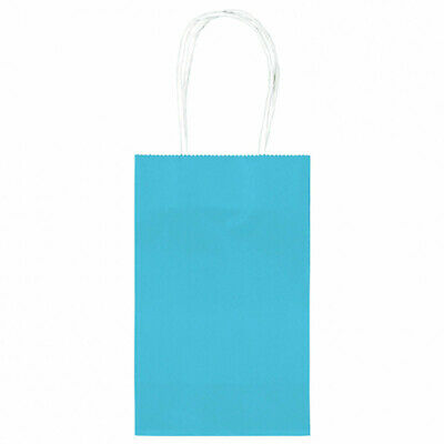 10 Classic SMALL Children's Birthday Party CARIBBEAN BLUE Paper Loot Gift Bags