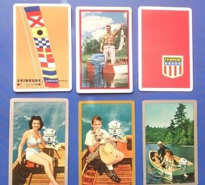 6 VINTAGE EVINRUDE OUTBOARD MOTOR single swap PLAYING CARDS used but nice LOT
