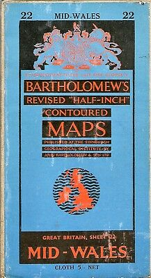Bartholomews half-inch Map 22 MID WALES - cloth -1958