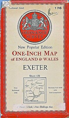 Ordnance Survey Map No 176 EXETER - Cloth - 1946