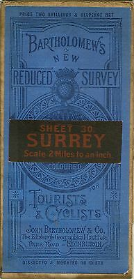 BartholomewsTourist/Cyclist Map 30 SURREY.- Cloth - Dissected - 1889/1911