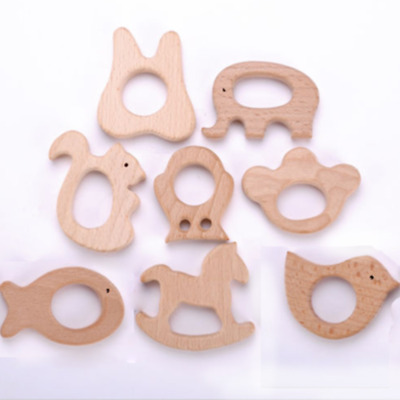 Cute Safe Natural Wooden Animal Shape Ring Baby Teether Teething Toy Shower