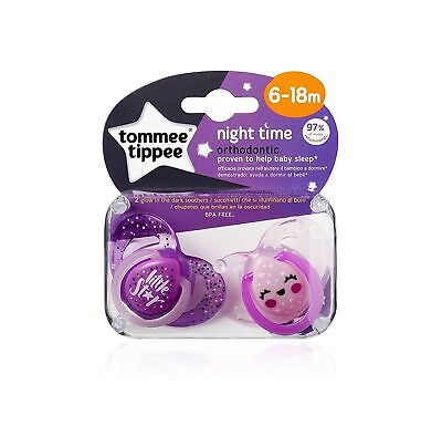 2 X 6-18M Tommee Tippee Glow In The Dark Night Time Pink Baby Girls Dummies Star