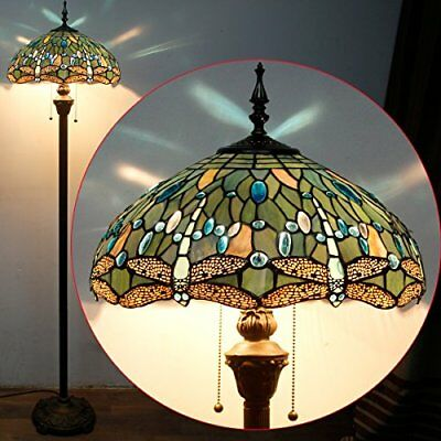 Tiffany Style Floor Lamps Standing 64 Inch Tall Sea Blue Stained Glass Shade 2