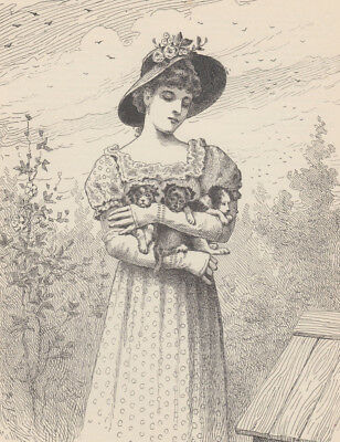 Victorian Lady Holding Her Beloved Puppies Puppy Dogs Antique Print 1889