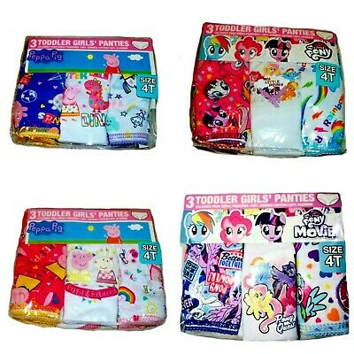 Peppa Pig Dino   My Little Pony Sparkle Rainbow Dash Girls'  3-Pack Panties  NWT